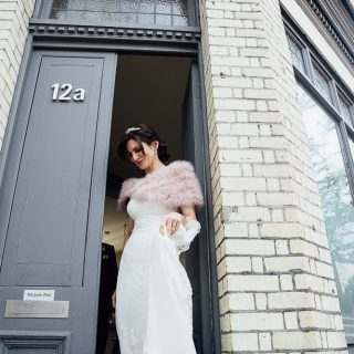 brunswick house wedding bride with pink fur shrug