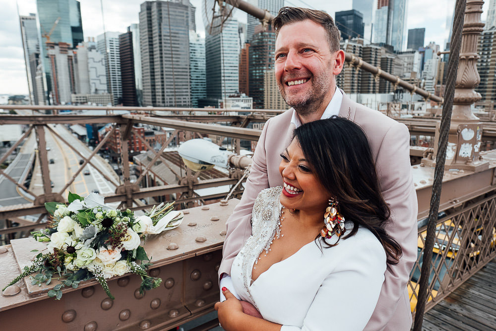 New York wedding photography portrait of bride and groom on brooklyn bridge