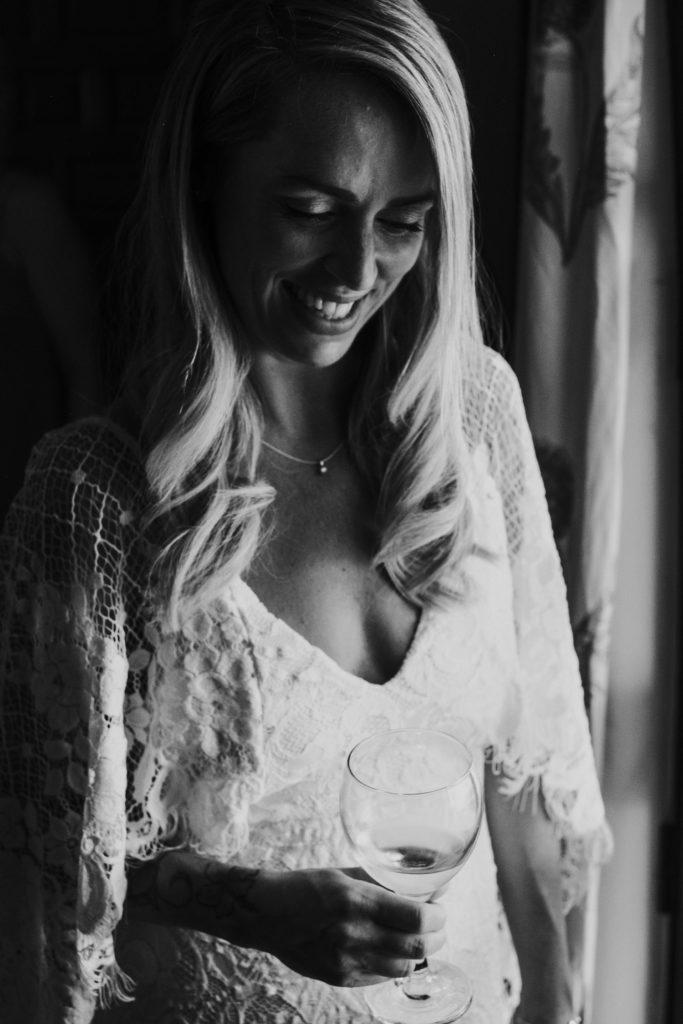 black and white portrait of bride near window jerez wedding photographer