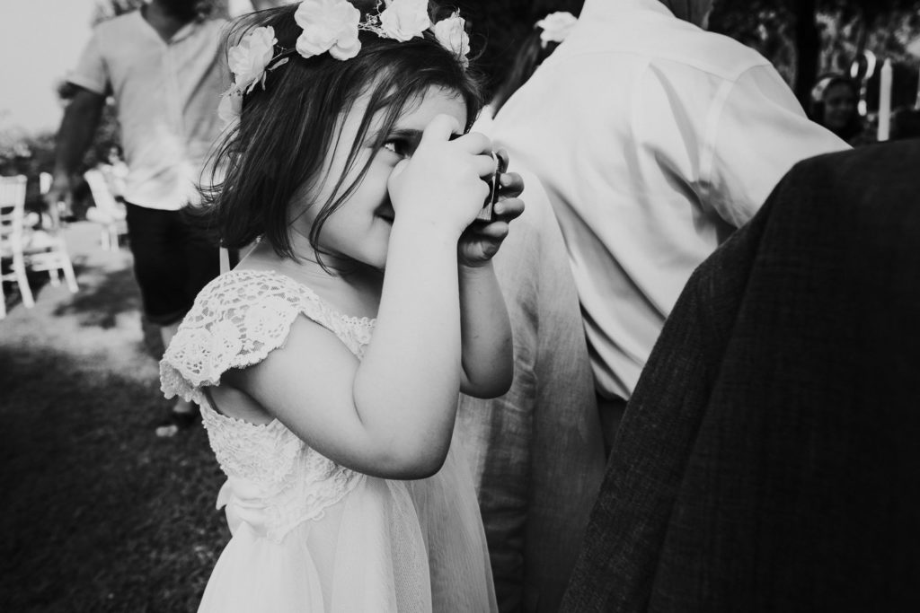 small girl taking photo black and white jerez wedding photographer