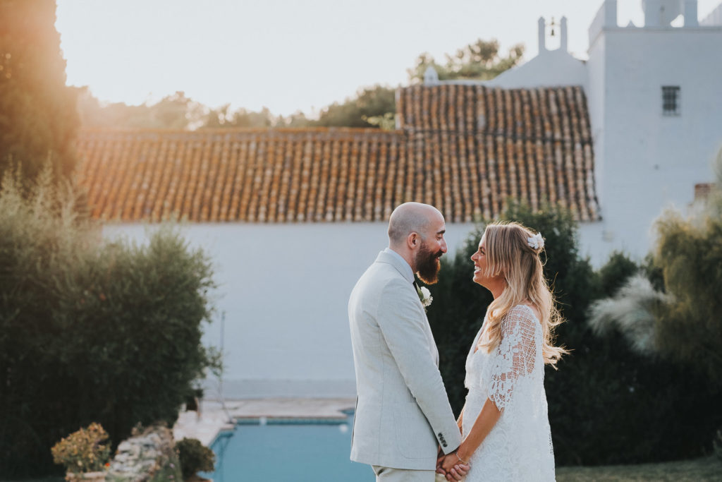 bride and groom portrait in evening sun at cortijo barranco jerez wedding photographer spain