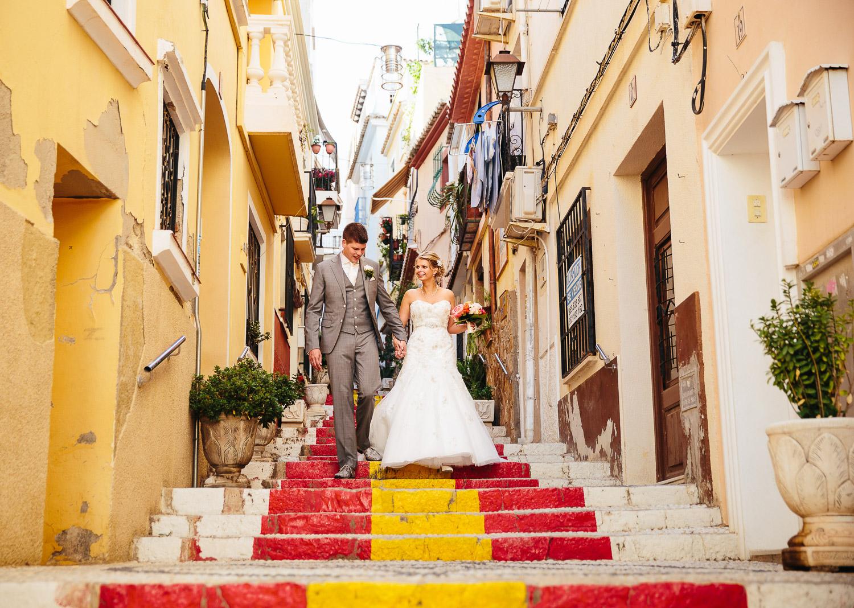 SOL Y MAR CALPE COSTA BLANCA WEDDING PHOTOGRAPHER BRIDE AND GROOM SPANISH STEPS CALPE