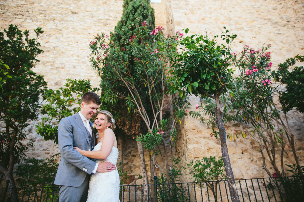 SOL Y MAR CALPE COSTA BLANCA WEDDING PHOTOGRAPHER BRIDE AND GROOM CASTLE WITH PLANTS