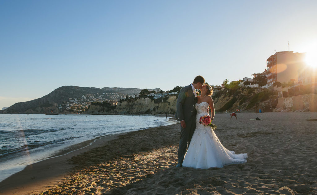 SOL Y MAR CALPE COSTA BLANCA WEDDING PHOTOGRAPHER BRIDE AND GROOM ON BEACH